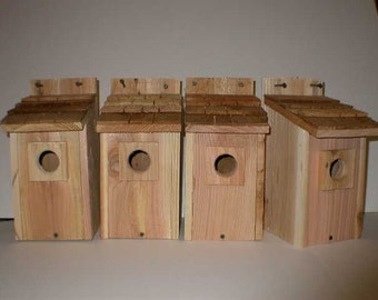 4- Bluebird bird houses bird nest with cedar shake roof