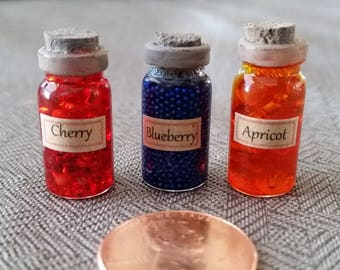 Fruit Jar Miniatures for your Dollhouse - Cherry Blueberry Apricot