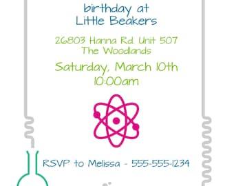 Science Birthday Party Invite - Lab, Experiment, Mad Scientist, 5x7 Invitation, Personalized