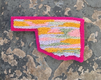 Medium Hand Embroidered Oklahoma Patch Pink/Yellow