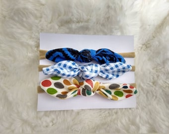 Fabric knot headbands, baby head bands, hair bows, 3 pack