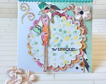 Luxury Birthday Card, handmade card, handcrafted card, 50th birthday card, colourful card, special occasion, elegant card, gold
