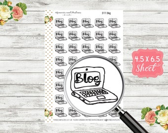 Blog Stickers - Bullet Journal Stickers - Doodle Stickers - TN Stickers - BUJO Stickers - Laptop Stickers - Blog Post Planner - D111