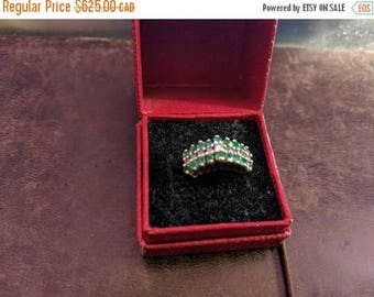 ON SALE Vintage Gold, Emerald and Diamond Ring