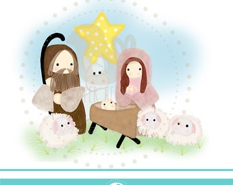 Cute Nativiy clipart illustration  - COMMERCIAL USE OK