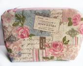 Vintage Roses Pouch - Peony Makeup Bag - Dusty Rose Toiletry Organizer