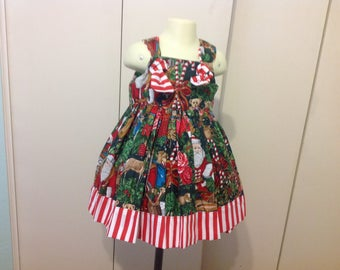 Girls Christmas dress toile with Santa, candy canes size 3t