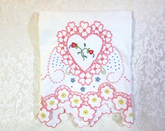 Vintage Pillowcase Madeira Embroidery Hand Embroidered Pink White Bedding Cottage Decor Vintage Linens