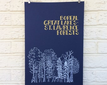 Boreal forest screenprinted poster