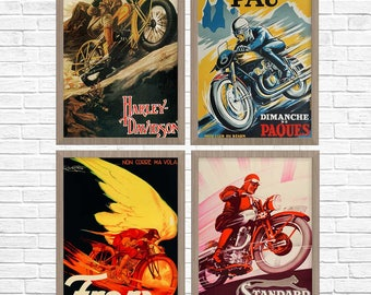 Motorcycle Posters, Group of 4, Vintage Motorcycle Poster, Motorcycle Retro, Rider Art, Motorcycle Art, Motorcycle Gift, Harley Davidson