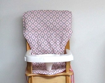 high chair cushion, eddie bauer wooden chair baby accessory replacement cushion, baby and child, jenny lind pad, pink  and gray