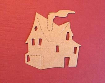 Medium Weight Chipboard (.57) House DieCut/Embellishment/Ephemera/Accessory/Paper Craft. Chipboard House. Haunted House. New Home Die Cut.