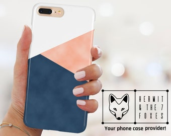Geometric Blue Pink White Abstract Phone Case For iPhone X iPhone 8/8+ iPhone 7/7+ Iphone 6/6+ Samsung Galaxy S8/S7/S6/a5 Hard Protective