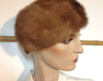 Pillbox Hat Mink Hat VIntage 50s Hat by Cecile NY XS