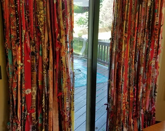 "Bohemian Curtains Boho Curtains ""Made to Order"" Gypsy Curtains Rag Curtains Farmhouse Curtains Boho Door Curtains Room Divider Curtains"