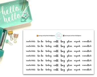 To Do, Plan, Today, Buy, Cancelled, Call, Rescheduled Planner, Penpal and Journalling Stickers HBS0032