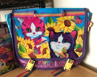 Vintage Lisa Frank Sunflower Kittens Messenger Backpack