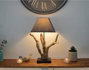 stunning Driftwood lamp, perfect for decorating a sideboard