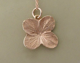 14k Rose Gold Flower Necklace Hydrangea, Last Minute Gift, Free Shipping, Gardening Gift