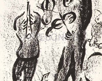 """Chagall Original Lithograph """"The Mountbanks""""  1963  -d"""