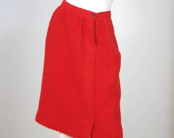 Courreges 1970s Vintage Red Wool Knee Length Skirt Sz S
