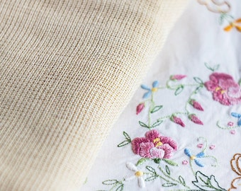 Vintage blank canvas_satin cross stitch_waste tear away_needlepoint sewing_retro embroidery_beige cotton_multipurpose DIY_embroidery blank