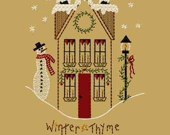 MACHINE EMBROIDERY-Winter Thyme Saltbox-5x7-Fill-Instant Download