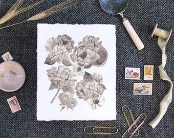 Black + White Floral Print, Handmade Paper, Farmhouse Decor, Deckled Edge Wall Art, Watercolor Print, Handmade Paper Print, Peony, Hydrangea