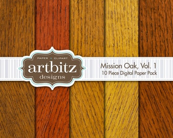 "Mission Oak 10 Piece Wood Texture Digital Scrapbooking Paper Pack, 12""x12"", 300 dpi .jpg, Instant Download!"
