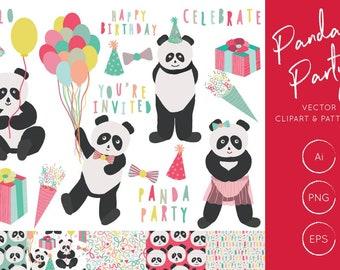 Panda Party Clipart Set