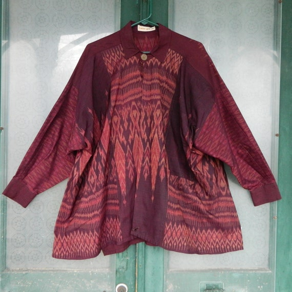 Classic Lanna Thai Long-Sleeve Shirt Jacket in Maroon Ikat Silk XL