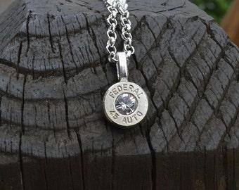 Bullet necklace Silver necklace Federal .45 Auto necklace pendant necklace bullet pendant with Swarovski crystals