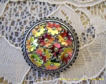 Vintage Western Germany Aurora Borealis Metal Flower Scarf Clasp/Clip