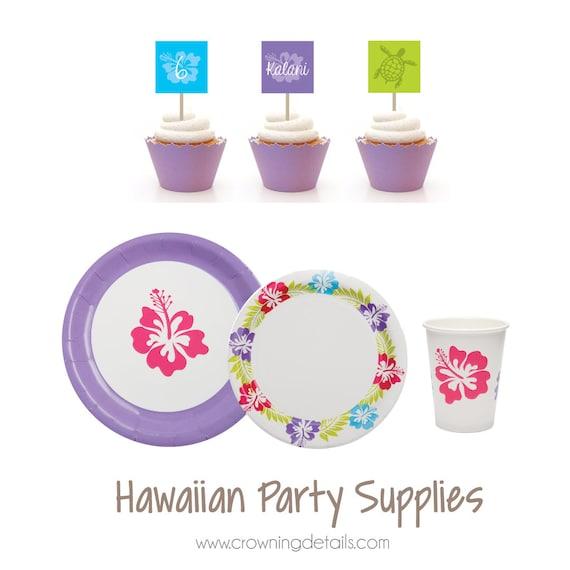 sc 1 st  Etsy & Hawaiian Party Supplies Hawaiian Paper Plates Hawaiian Paper