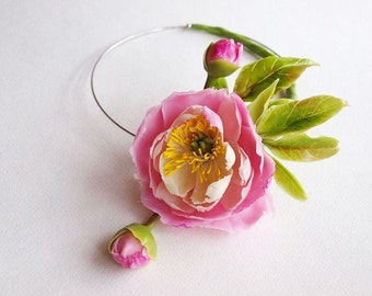 Necklace with Peony - Necklaces - Women Accessories - Flower Floral Necklace - Gift - Flower Wedding Necklace