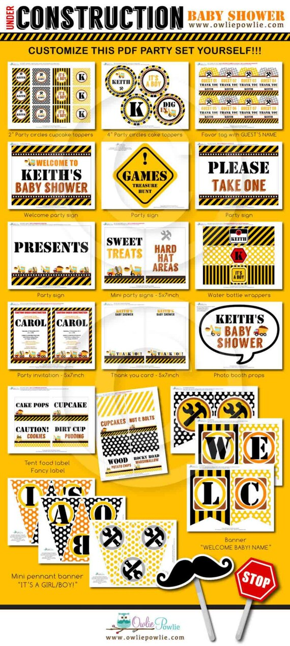 Construction BABY Shower Party Printable Package & Invitation