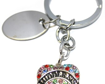 Engraved / personalised metal multi-coloured mid-sis heart keyring pouch BR534