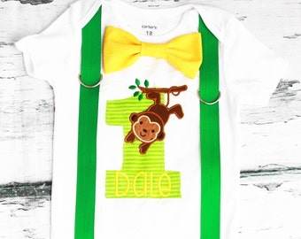 Boy first birthday Monkey themed bow tie  Suspenders Bow tie Forest First Birthday Zoo Monkey Boy Cake Smash Outfit Boy 1st Birthday