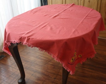 Embroidered Vintage Tablecloth Cotton Watermelon Pink Square 51 x 52