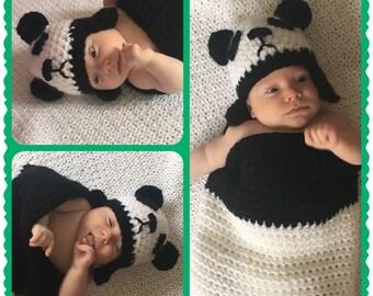 Newborn Panda Hat and Cacoon Prop
