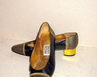 sz 8 m vintage black and gold low heel shoes TIMOTHY HITSMAN label