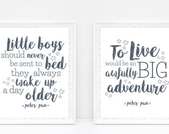 "INSTANT DOWNLOAD Peter Pan Print Quote Set 8x10 DIY Print Childrens Wall Art, Boy Nursery Room Printable - ""Little Boys ..."" & ""To Live ..."""