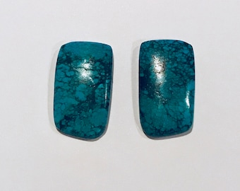 Pair of Turquoise Cabochon, 22.5 x 13 x 3.5mm