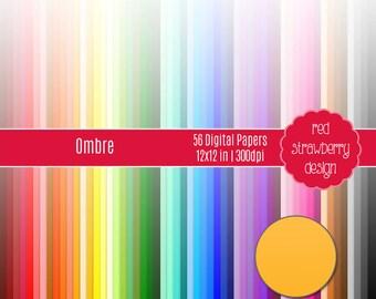 75% OFF Sale - 56 Digital Papers - Ombre - Instant Download - JPG 12x12 (DP138)