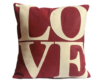 LOVE Pillow Cover Appliquéd in Antique White on Ruby Red Eco-Felt - 18 inches