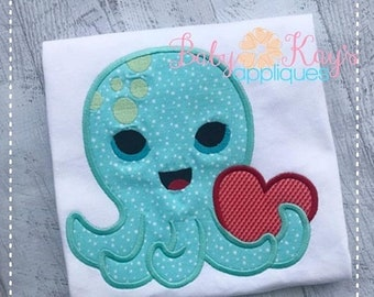 ON SALE Valentine Octopus Applique Design 4x4, 5x7, 6x10, 8x8