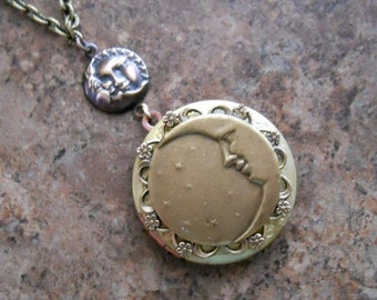 Man in the Moon Locket in Brass, Moon and Stars Locket in Brasss-EXCLUSIVE DESIGN by Enchanted Lockets