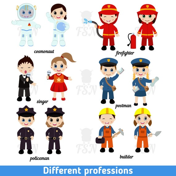 Items Similar To Kids Professions Digital Vector Clip Art