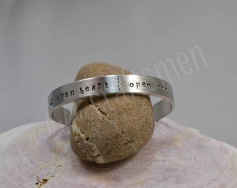 Open Heart Open Mind Pewter Bracelet