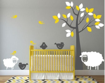 Nursery Wall Decal With Sheep, Chickens, And Birds
